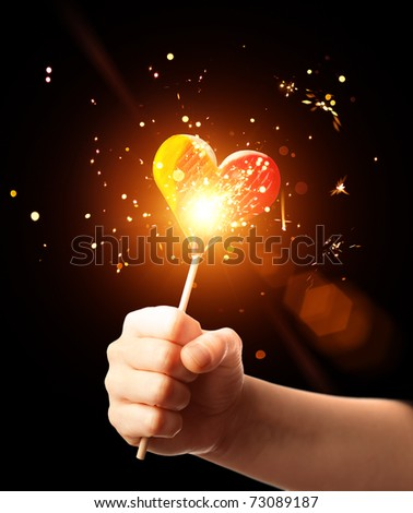 magic candy heart - stock photo