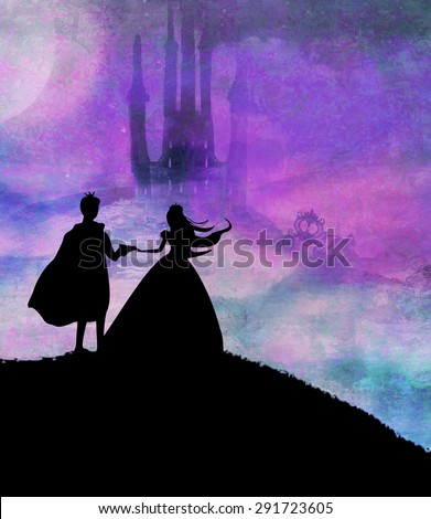 Magic castle and princess with prince - stock photo