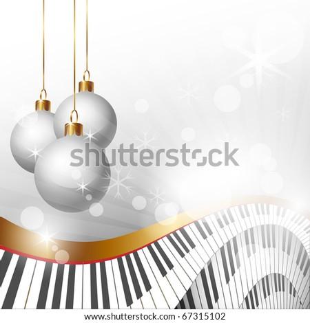 Magic Christmas and Music Background, clip art  illustration - stock photo