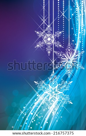 Magic Christmas background in blue colours. - stock photo