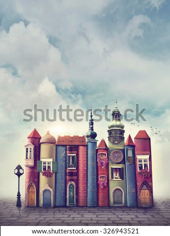 Magic city with old books - stock photo