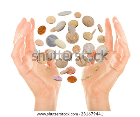 magic coins isolated on a white back ground - stock photo