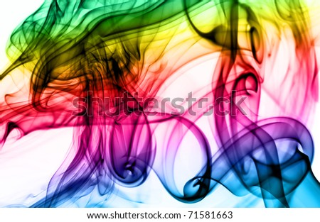 Magic colorful Abstract fume pattern over the white background - stock photo