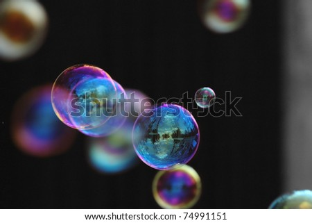 Magic colors of the soap bubbles.