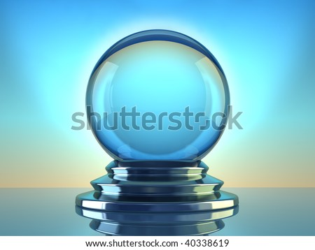 Magic crystal ball on blue background - 3d render - stock photo