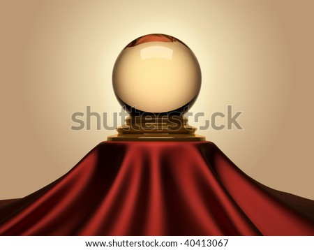 Magic crystal ball sitting on satin table cloth - 3d render - stock photo