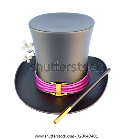 Magic cylinder hat isolated on white background. 3d rendering. - stock photo