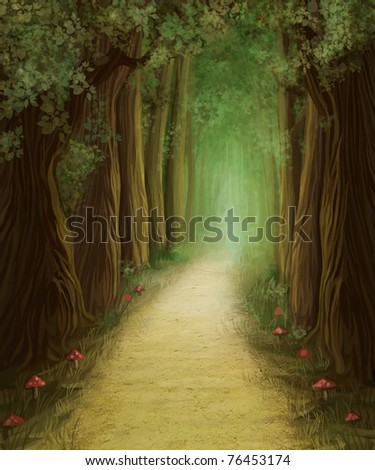 magic dark forest road, digital painting - stock photo