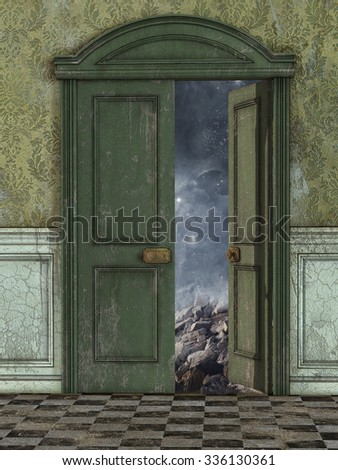 Magic door with galaxy and stars outside