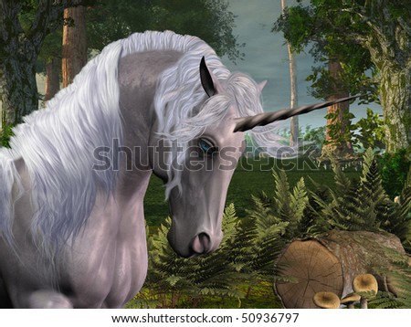 MAGIC FOREST - A beautiful stag unicorn passes through a magical forest. - stock photo