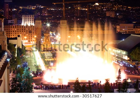 Magic fountain in city Barcelona, Spain