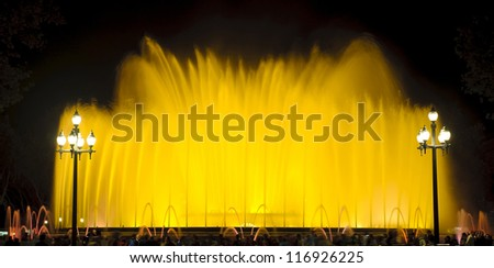 Magic fountain light show in Barcelona, Spain.