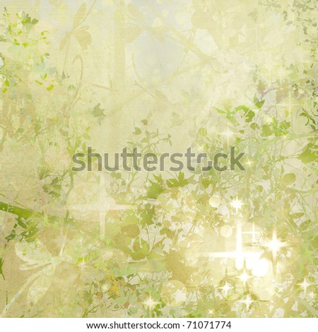 Magic Garden Digital Painting Background - stock photo