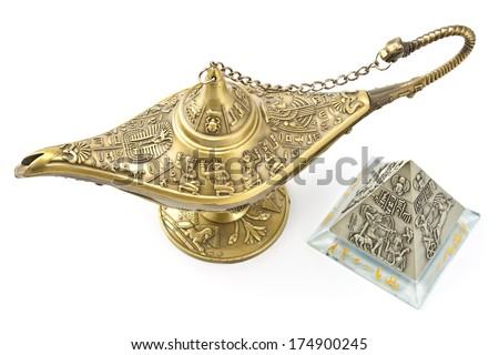 Magic genie  lamp and brass pyramid isolated on white - stock photo