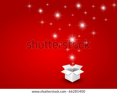 Magic gift box with a big surprise - stock photo