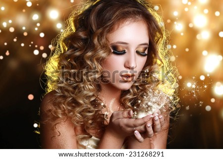 Magic Girl Portrait with Golden Makeup