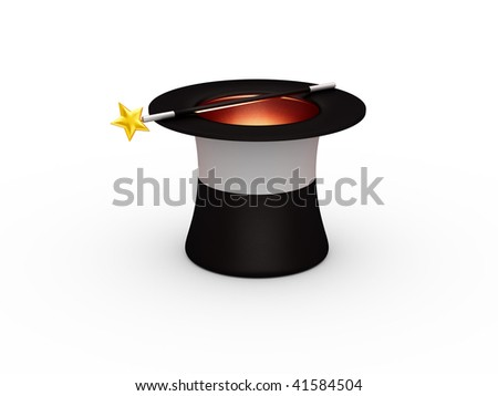 Magic hat and magic wand isolated on white