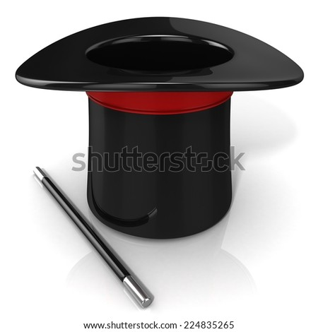 Magic hat and wand, 3D render isolated on white background. Front view