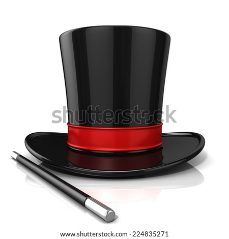 Magic hat and wand, 3D render isolated on white background. Front view - stock photo