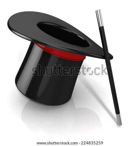 Magic hat and wand, 3D render isolated on white background. Side view - stock photo
