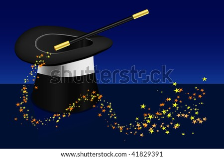 Magic hat and wand with a twirl of multicolor stars - stock photo