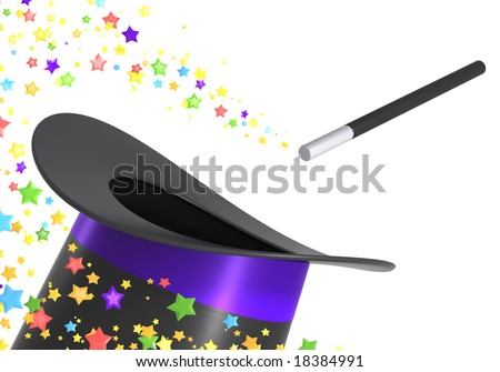 Magic hat and wand with a twirl of multicolor stars, isolated on white background