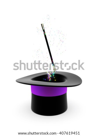 Magic hat and wand with glowing motes isolated on a white background. 3D illustration.