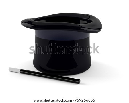 Magic hat isolated on white background. 3d illustration