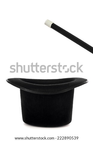 Magic hat with wand for magic show on white background