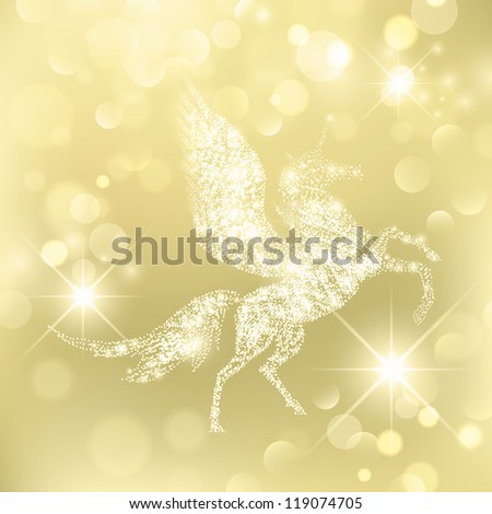 Magic Holiday Pegasus Which Grants Wishes over golden background - stock photo