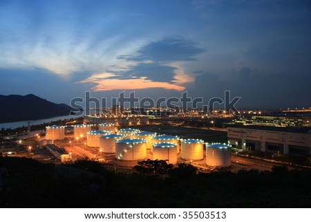 Magic hour of Hong Kong Aviation Fuel Tank Farm