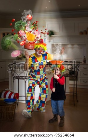 Magic in the kitchen. Funny clown and little girl make magic trick. - stock photo