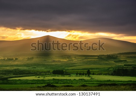 Magic Inland view of the Irish country side seen from the base of Great Sugarloaf mountain - stock photo
