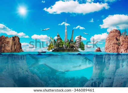 Magic island with the famous monuments, creative travel concept.  - stock photo