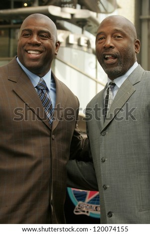 Magic Johnson and James Worthy at the Ceremony Honoring Los Angeles Lakers Owner Jerry Buss with the 2,323rd star on the Hollywood Walk of Fame. Hollywood Boulevard, Hollywood, CA. 10-30-06 - stock photo