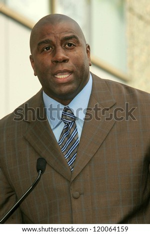 Magic Johnson at the Ceremony Honoring Los Angeles Lakers Owner Jerry Buss with the 2,323rd star on the Hollywood Walk of Fame. Hollywood Boulevard, Hollywood, CA. 10-30-06 - stock photo