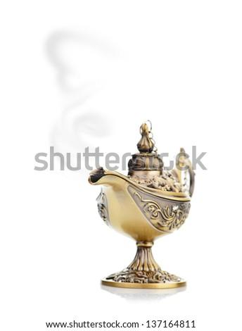 magic lamp isolated on white - stock photo
