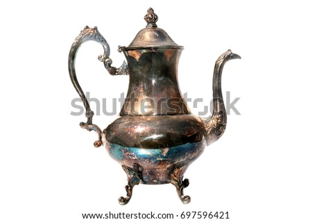 Magic lamp. Magic Lamp may contain a magic Genie ready to fulfill your greatest wish.Isolated on white. Room for text