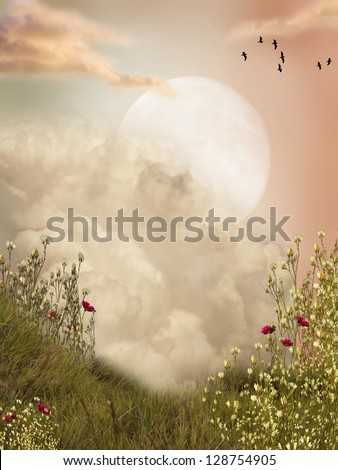 Magic landscape moon with flowers and birds - stock photo