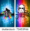 Magic Lights Disco Flyer with DJ shape and a lot of stars - stock photo