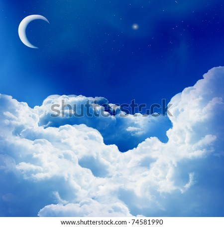 magic moon and beautiful clouds - stock photo