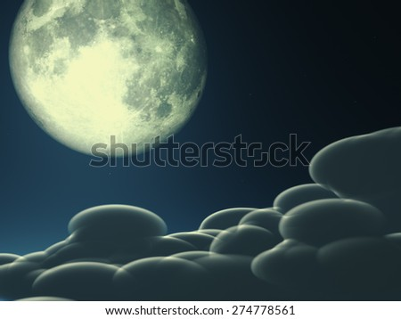 """Magic moon in the night sky """"Elements of this image furnished by NASA""""  - stock photo"""