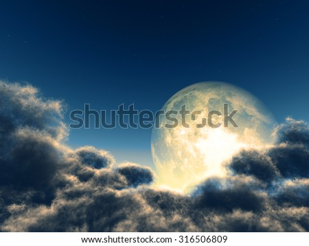 Magic moon in the night sky. Parts of this image were furnished by NASA - stock photo