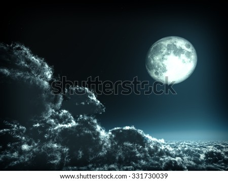 Magic moon in the night sky. This images were rendered in 3D software. No NASA images. - stock photo