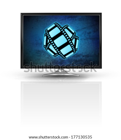 magic movie tape on blue new modern screen isolated on white illustration - stock photo