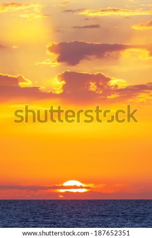 Magic orange sunset at the Mediterranean  - stock photo