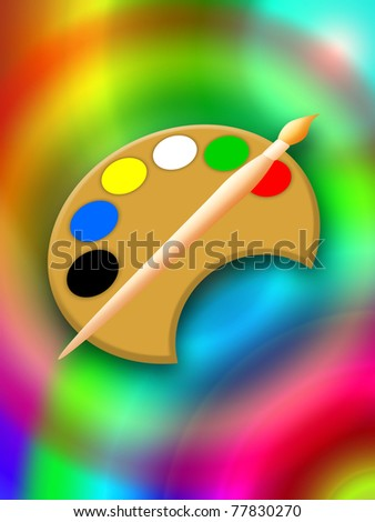 Magic painting with paintbrush and palette, bright colorful illustration - stock photo