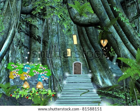 magic pathway into a mystical forest - stock photo