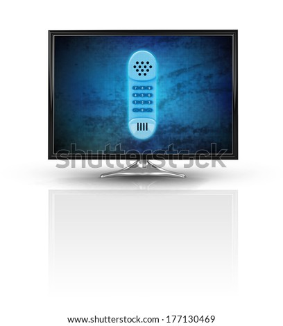 magic phone on blue new modern screen isolated on white illustration - stock photo