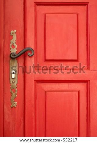 Magic red door - stock photo